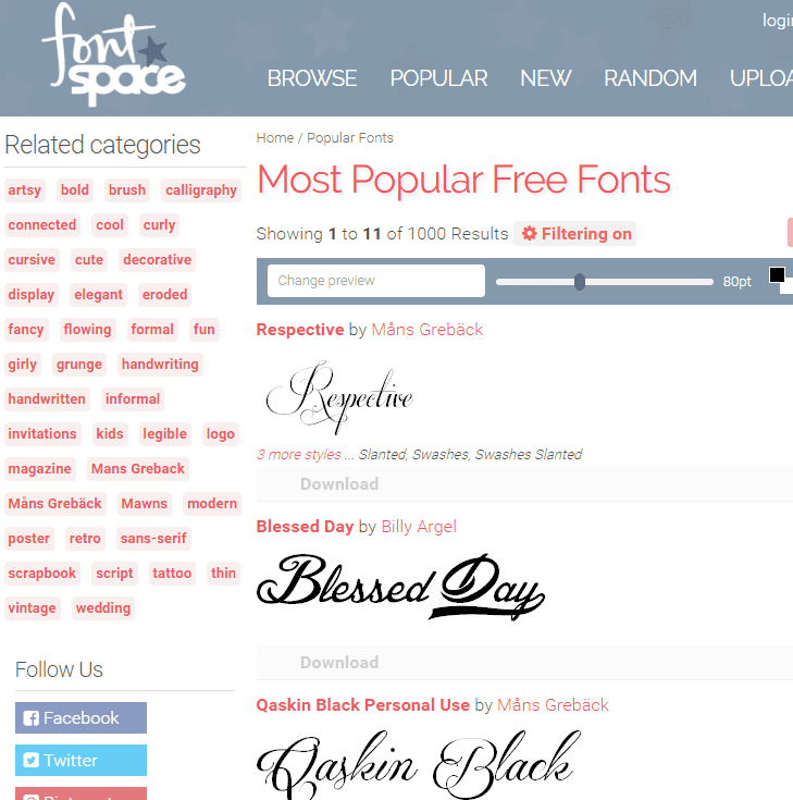 Screenshot of the FontSpace website