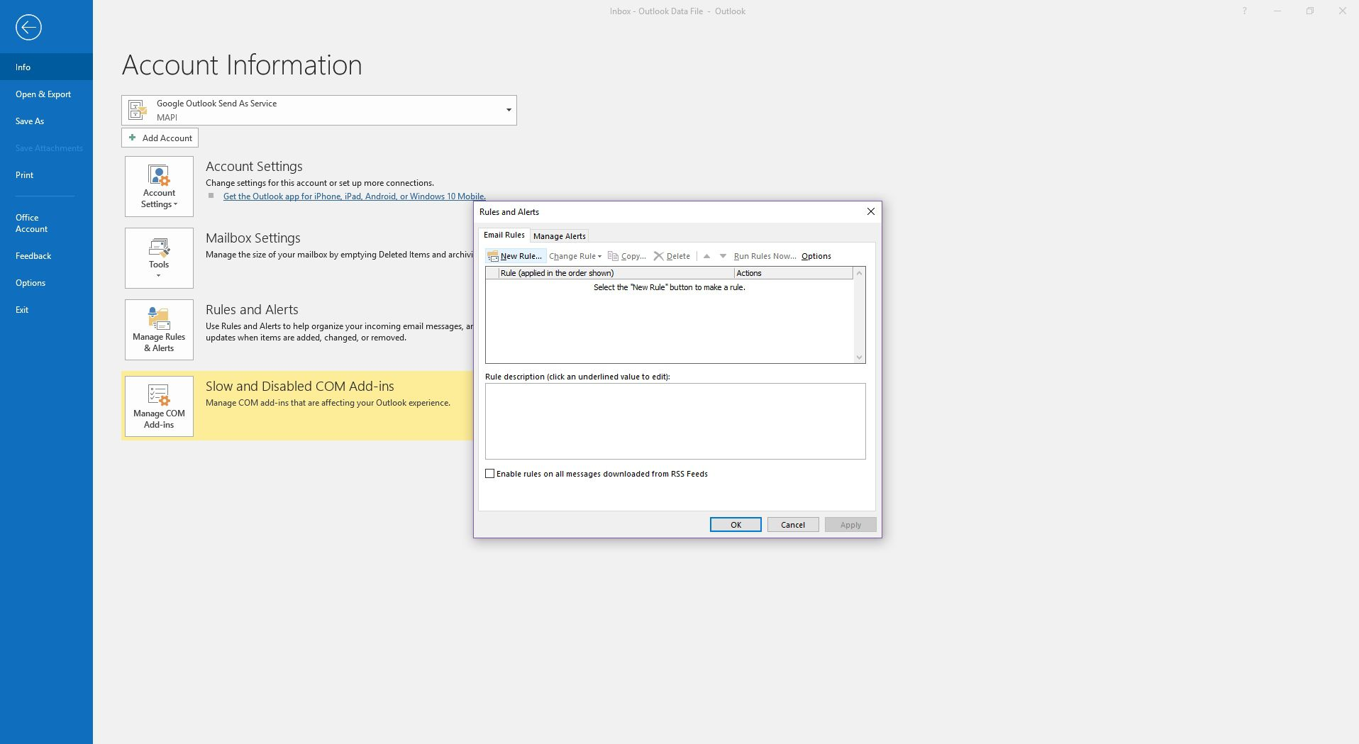 Creating a new rule in Outlook.