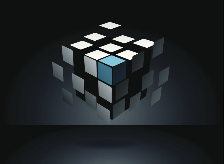 Illustration of a puzzle cube's tiles separated