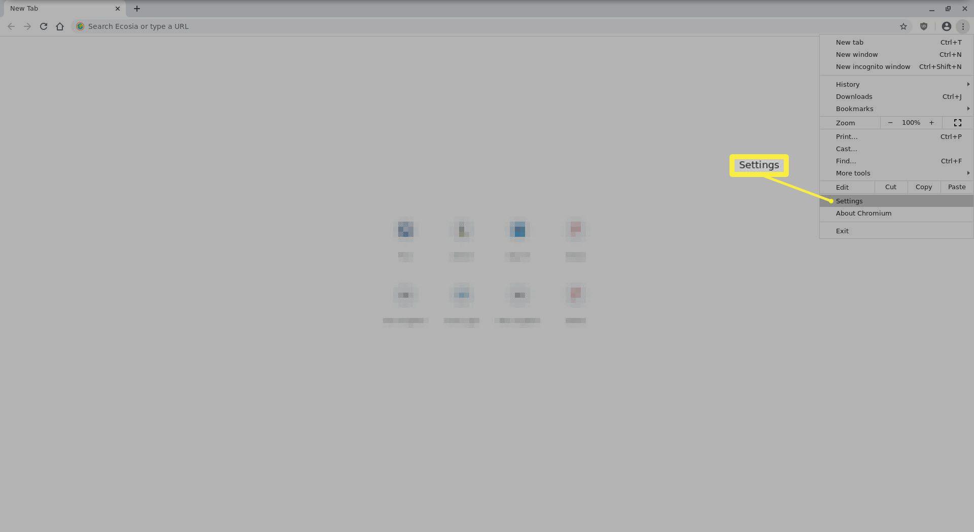 The Chrome menu settings.