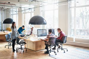 Co-workers working in start up office