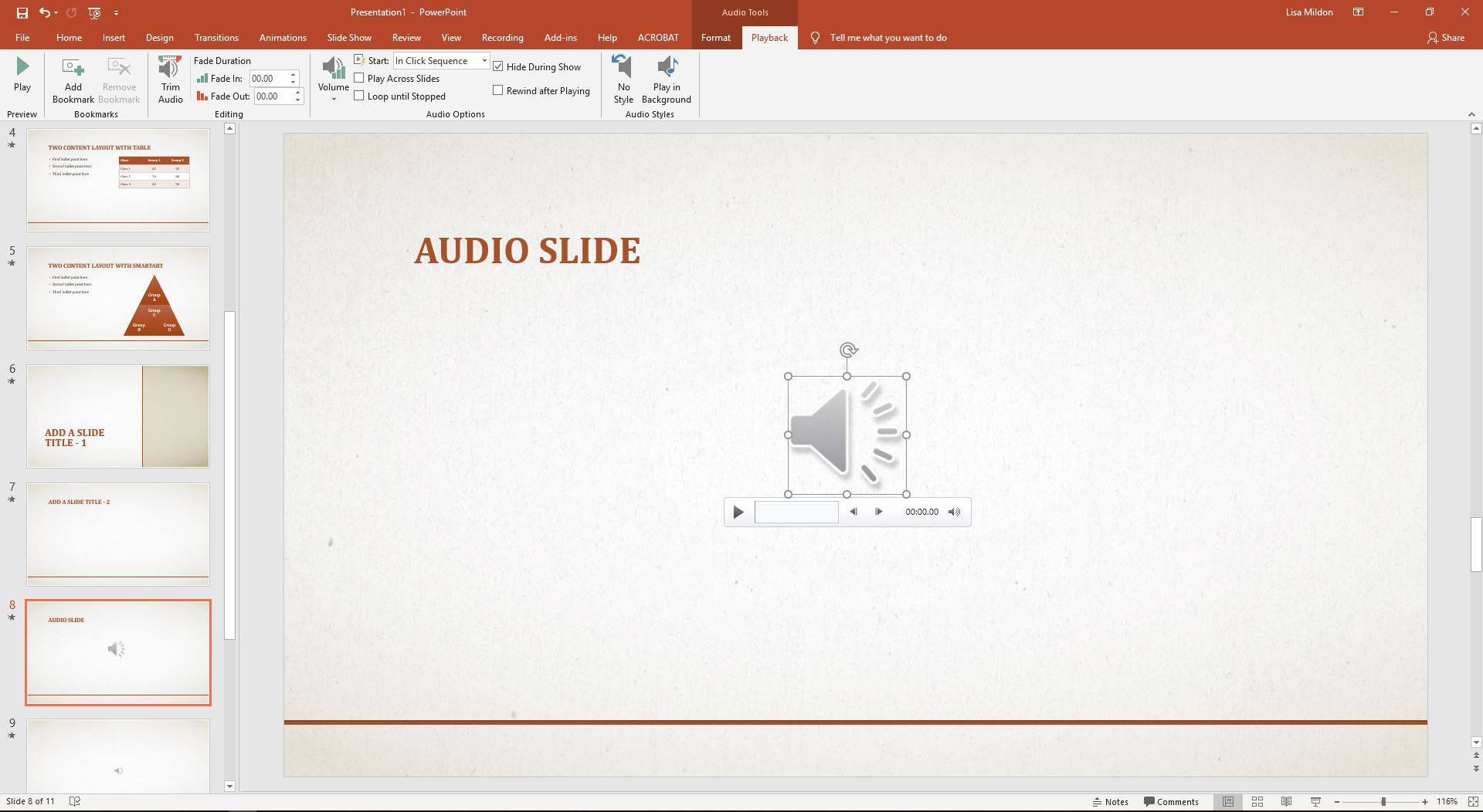 hide sound icon on powerpoint slideshows