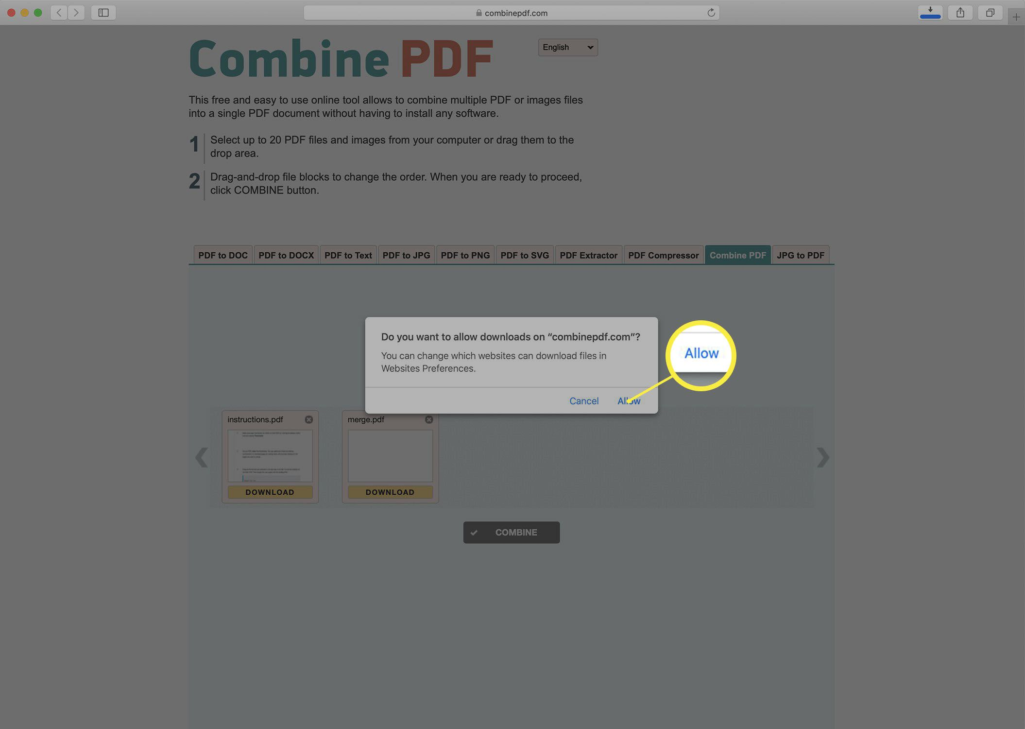 Screenshot downloading a merged PDF from the Combine PDF website.