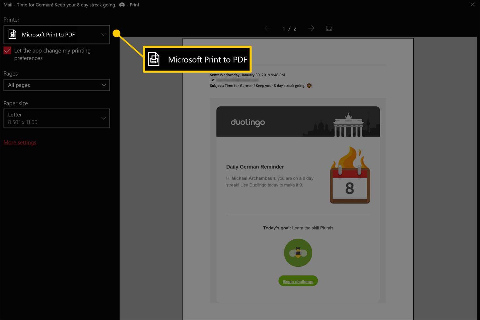 Print to PDF in Windows 10 / Windows 8
