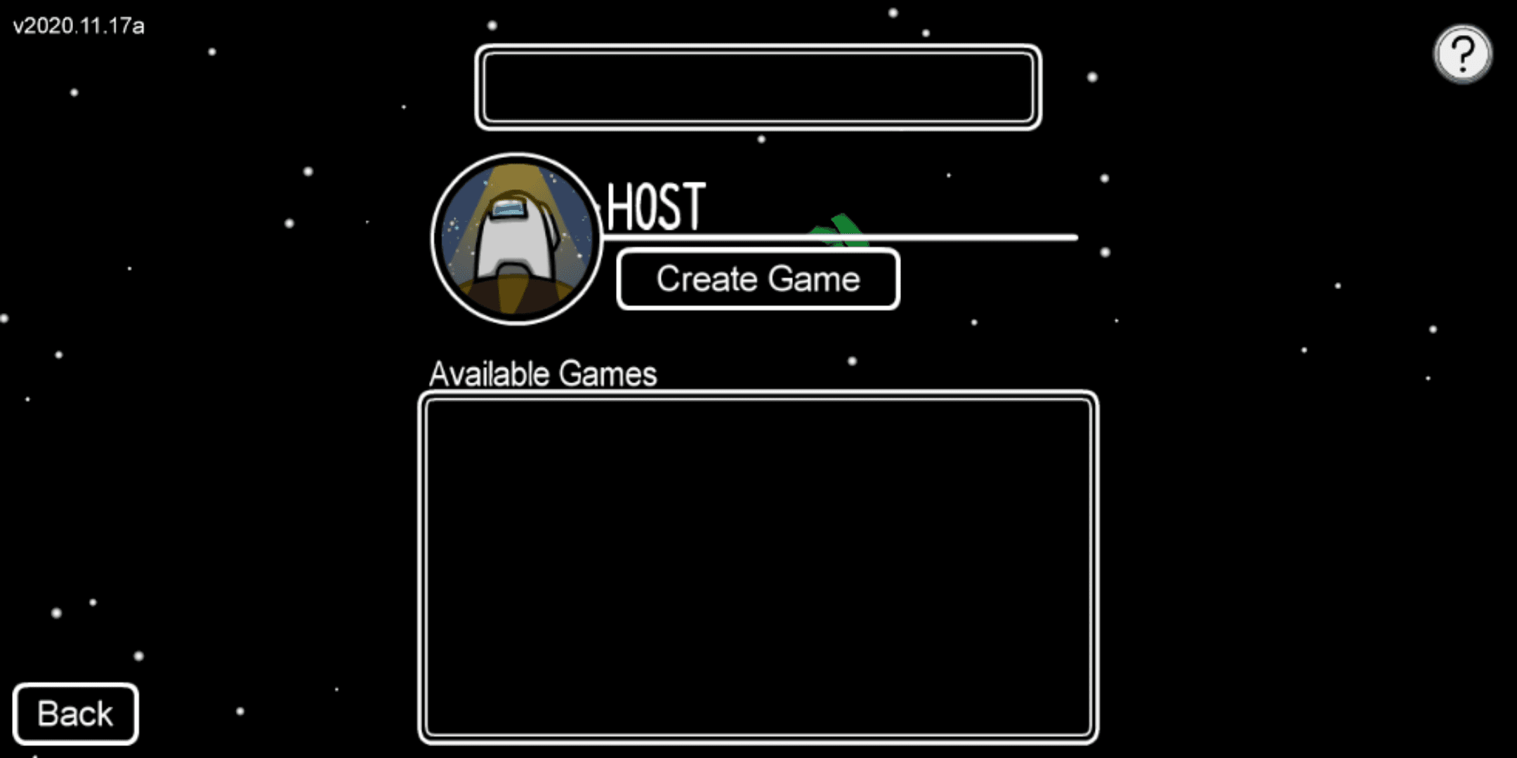 Starting an Among Us game with a blank name.