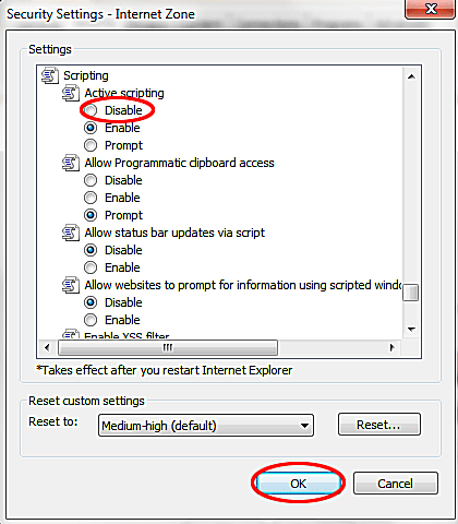 ie8 disable javascript