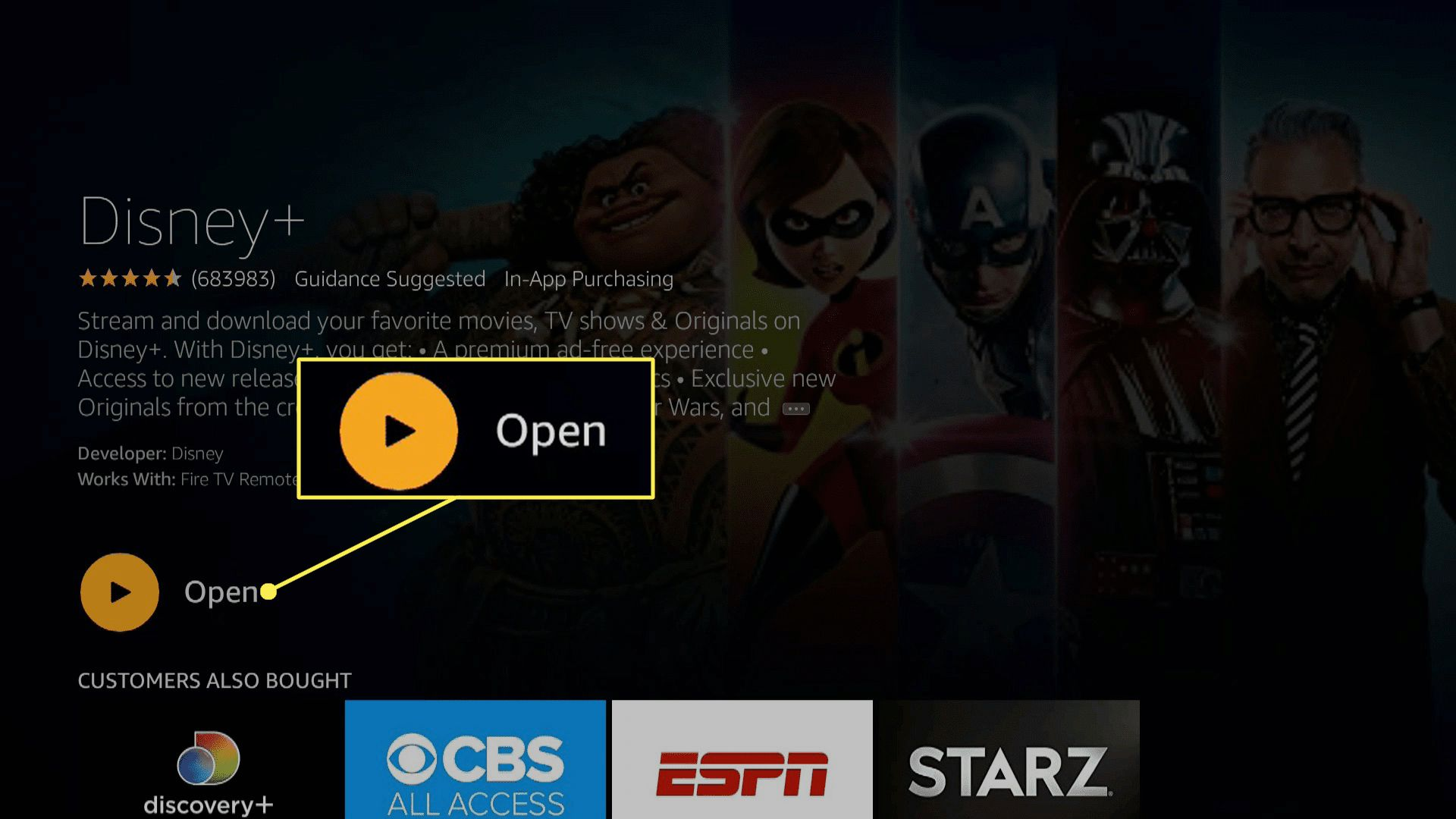 Disney Plus on Fire TV with Open highlighted.