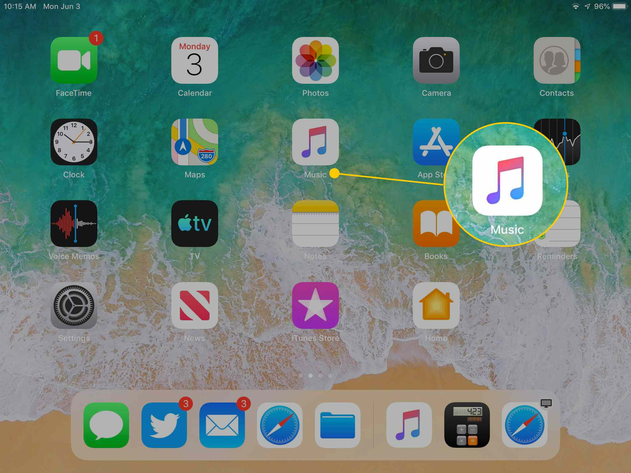 Music app icon on iPad