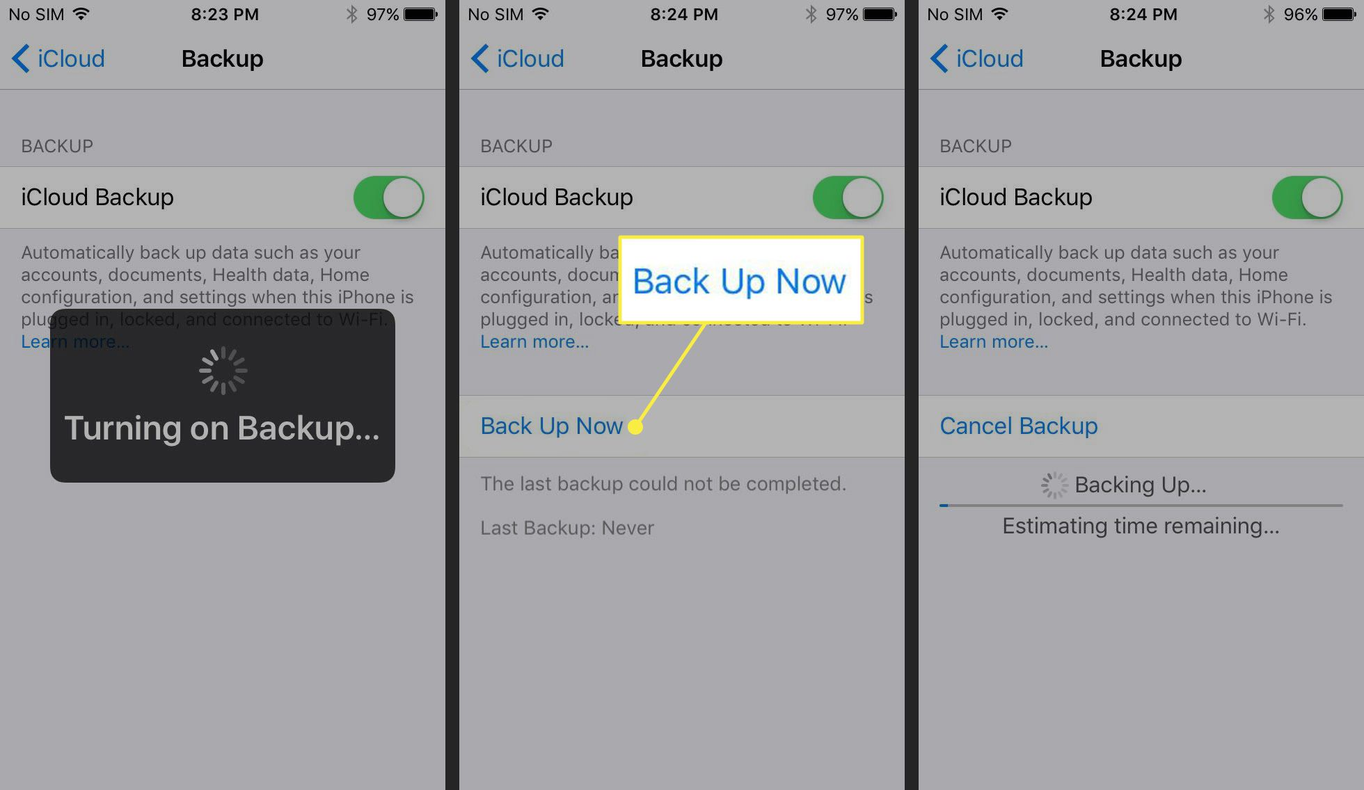 Starting an iCloud Backup on an iPhone