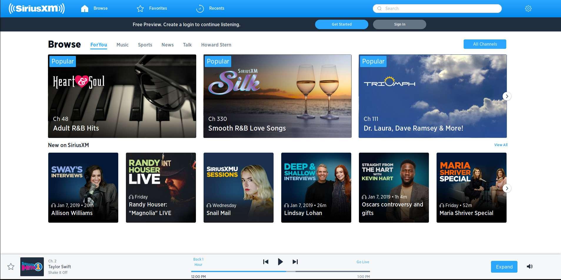 SiriusXM player homepage.