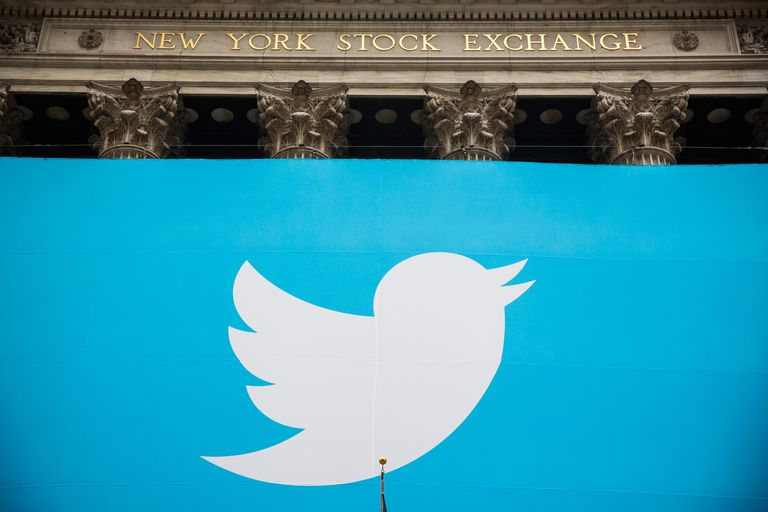 Twitter bird logo outside wall street