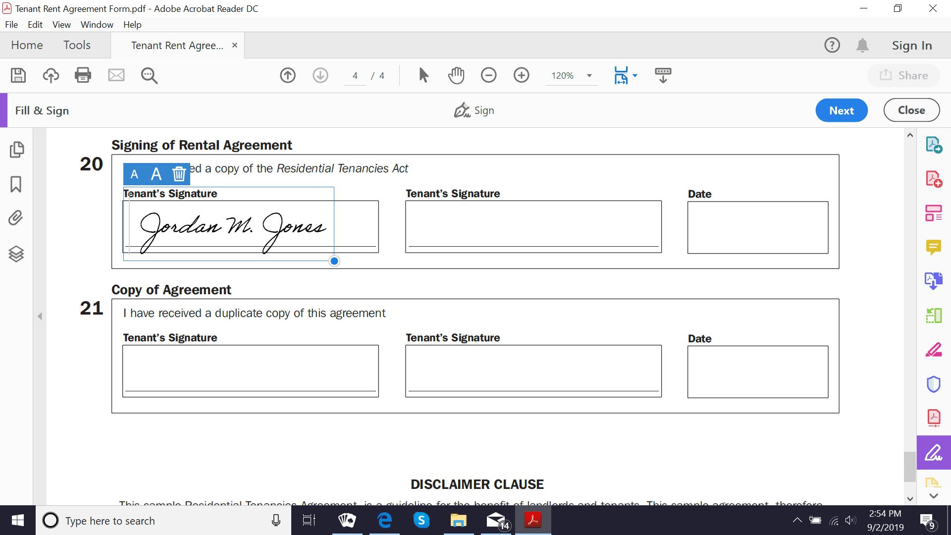 Adobe Acrobat Reader DC signature box
