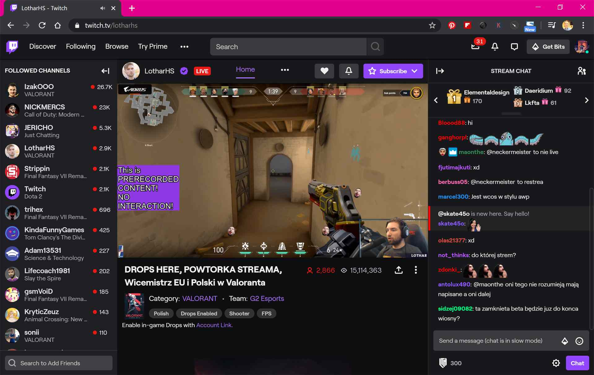 Twitch website in the Google Chrome web browser.