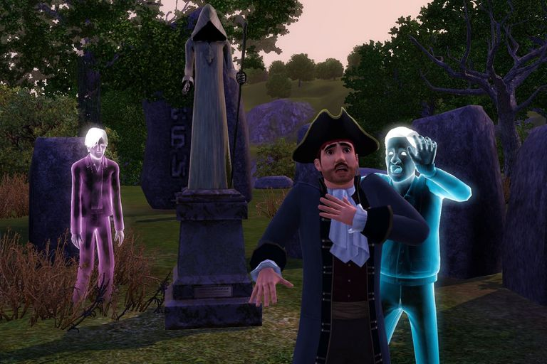 Sims ghost chasing revolutionary dressed sim in cemetery screenshot