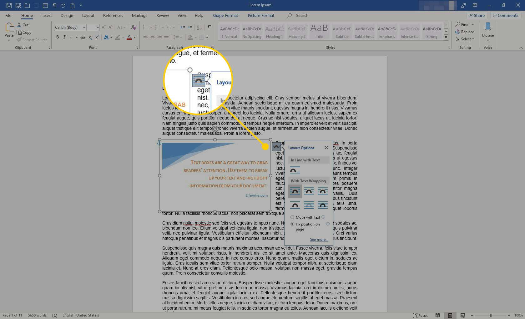 Layout Options icon in Word