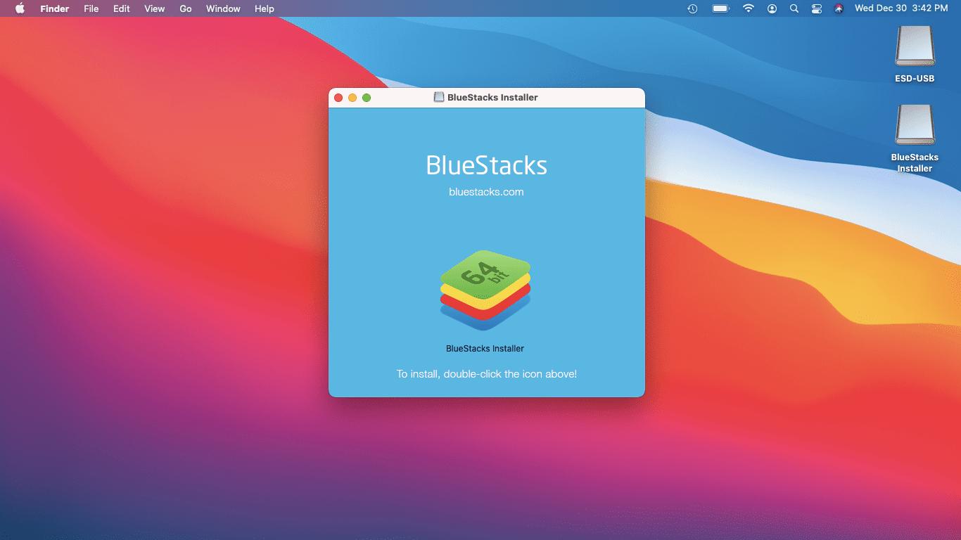 The BlueStacks installer on macOS.
