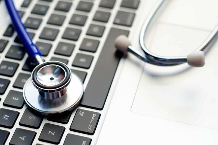 Stethoscope on Computer Laptop Keyboard