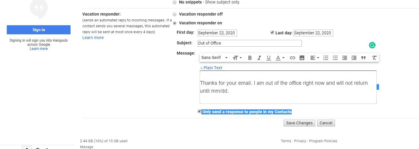 Only send a response to people in my Contacts selection in Gmail settings