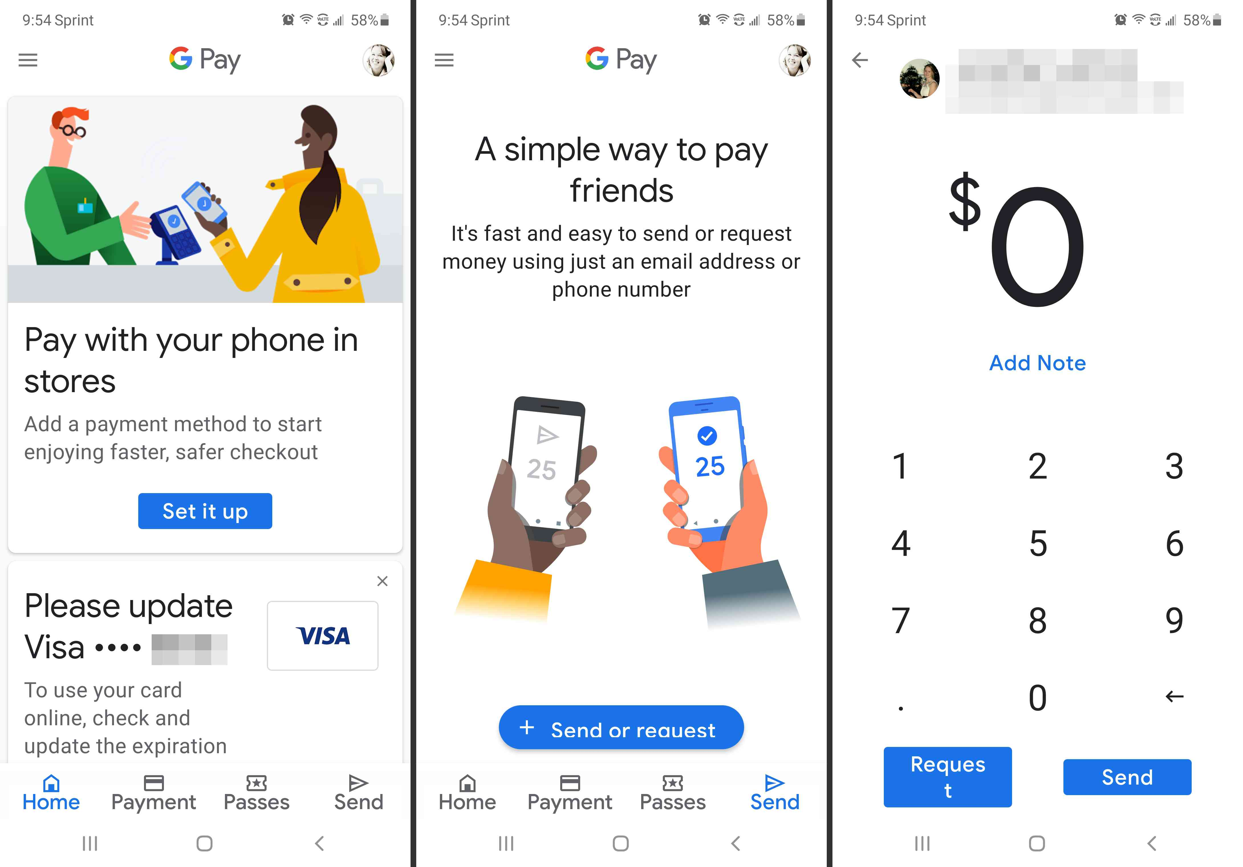 Google Pay app payment and transfer screens