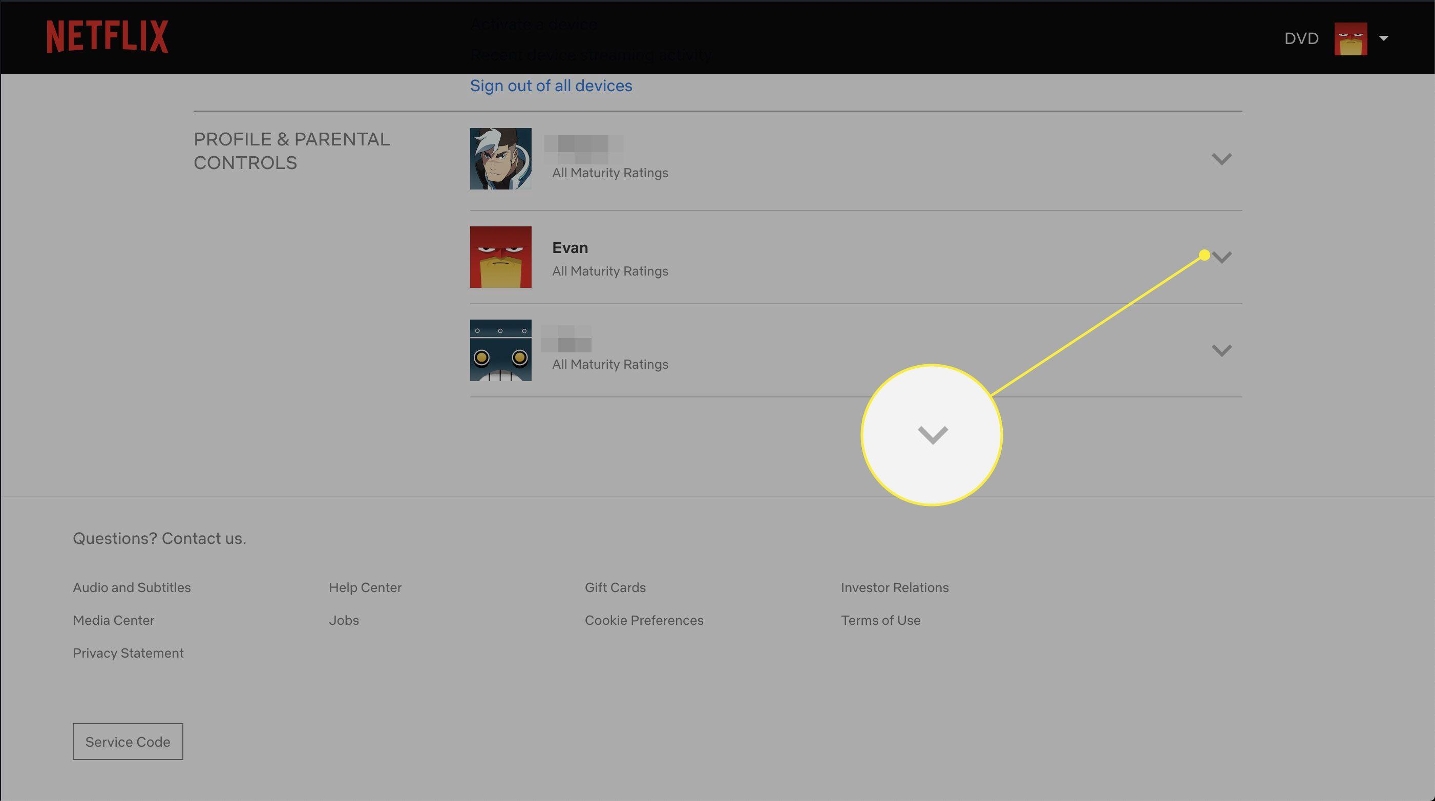 A screenshot of Netflix Account settings with an arrow highlighted