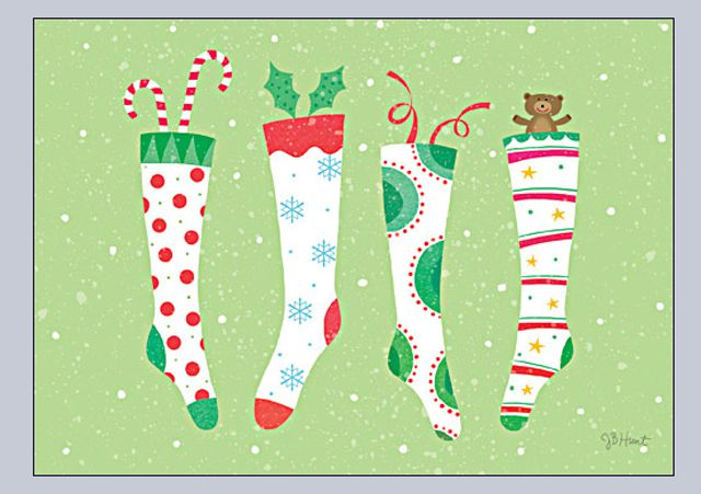 colorful stockings on a green background