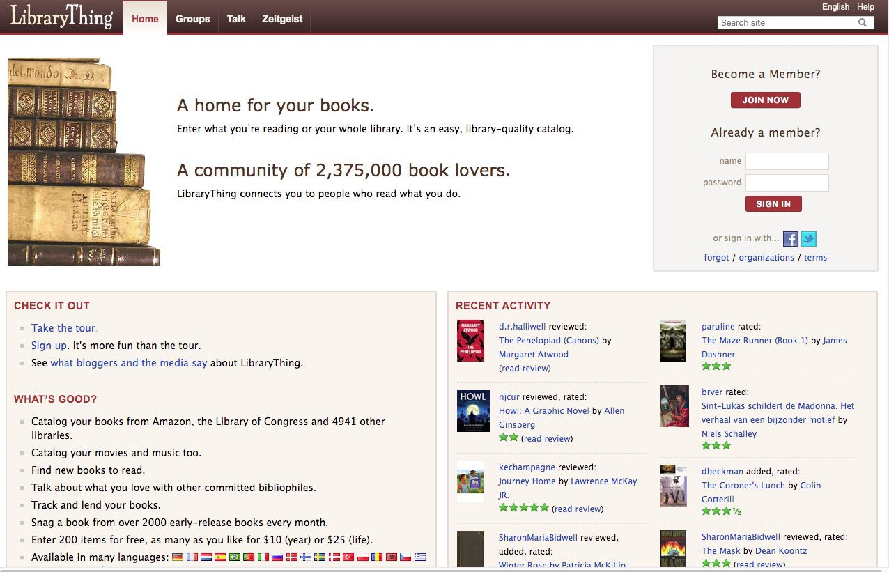 Screenshot of LibraryThing book-centered social network