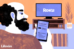 Person mirroring iPhone to Roku device on TV