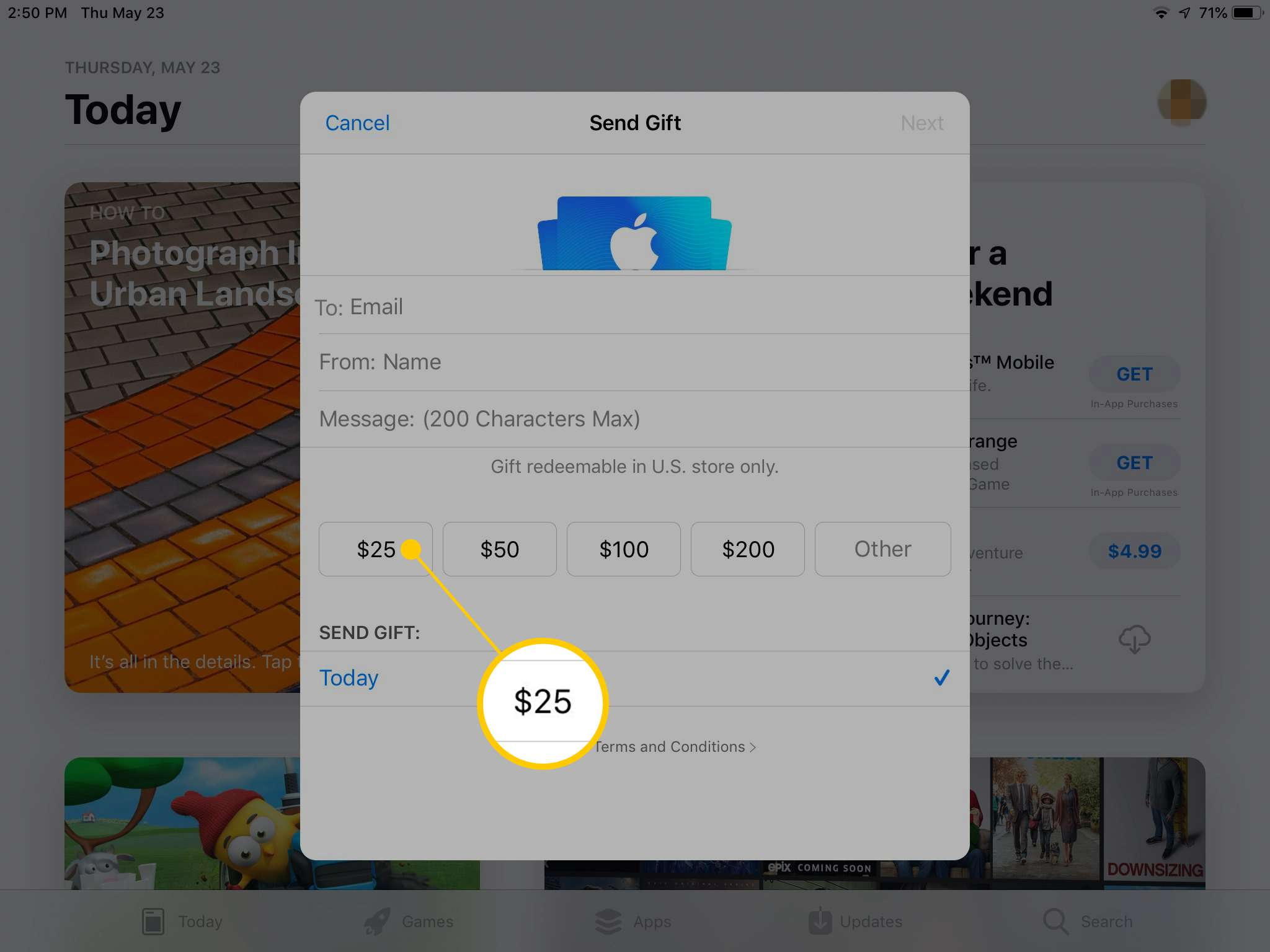 $25 amount in Send Gift dialog