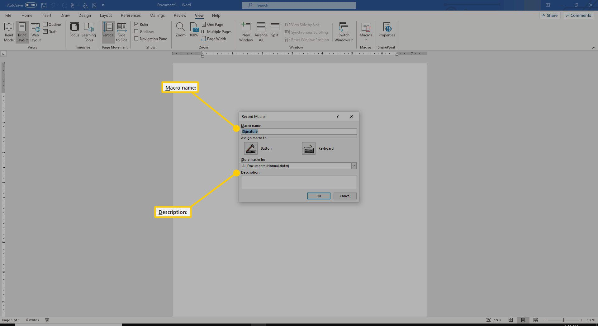 New Macro window in Word with the Macro Name and Description fields highlighted