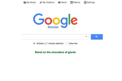 The Google Scholar search page screenshot