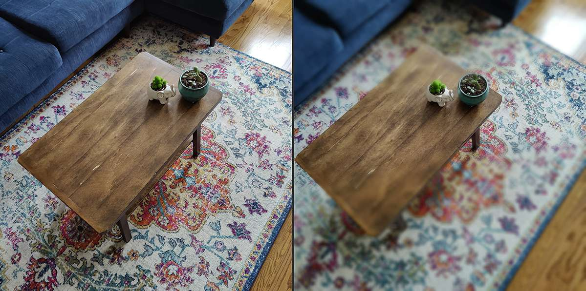 OnePlus tilt-shift before-and-after images of plants on a coffee table