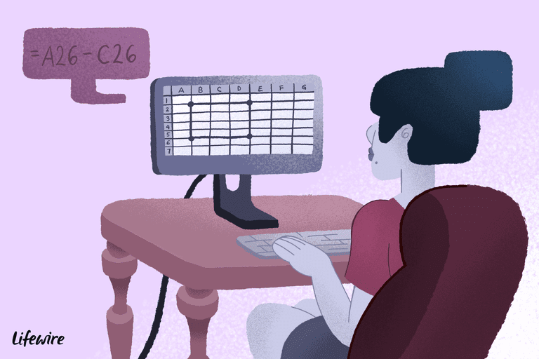 Illustration of a woman using excel on a desktop computer with