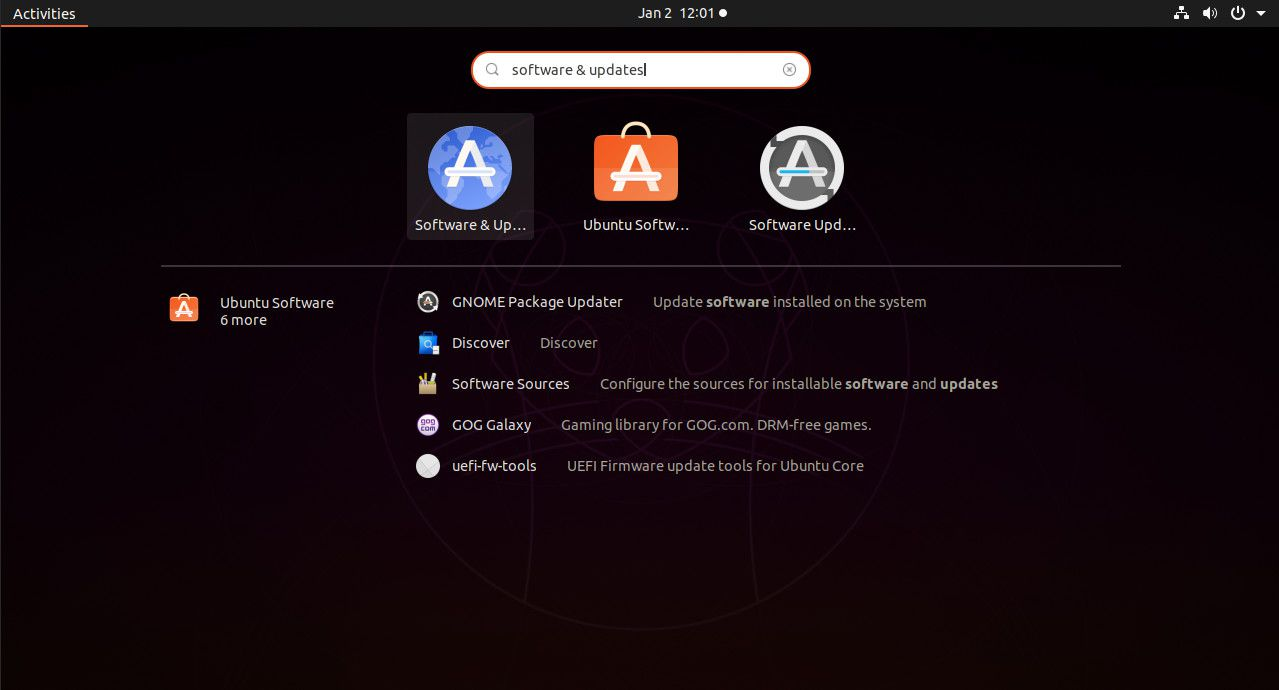Ubuntu search for Software & Updates