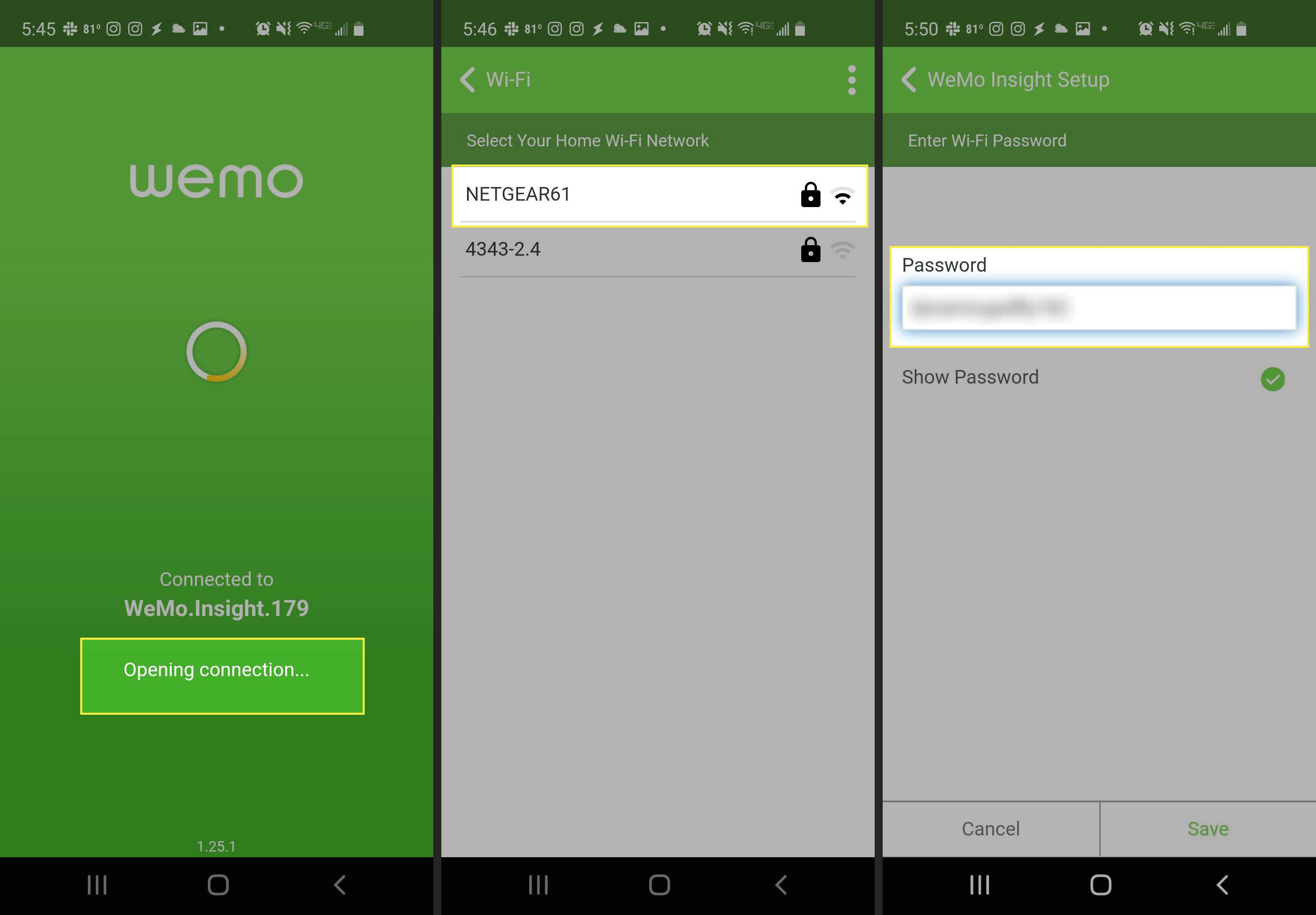 Connecting smart plug to Wi-Fi in the WeMo app, with connection signal, router, and password field highlighted
