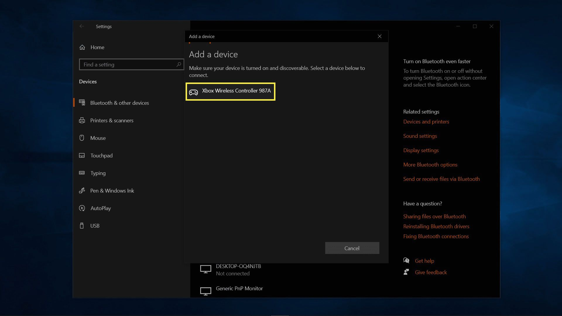 Connecting to a Bluetooth Xbox Series X or S controller on Windows.