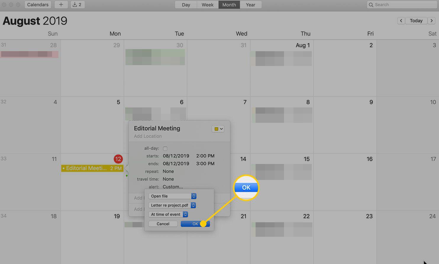 OK button in Calendar
