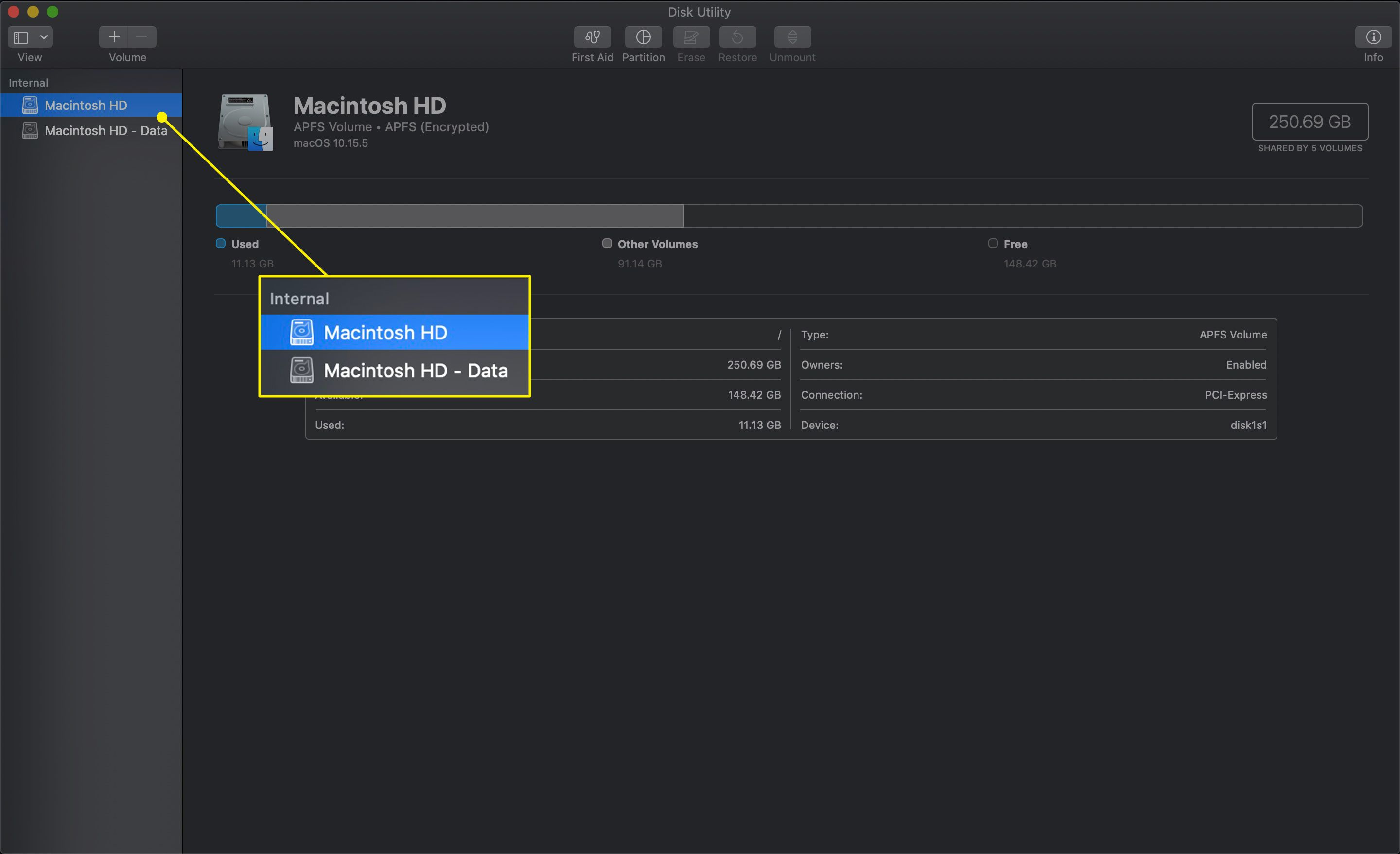 The Device List in Disk Utility