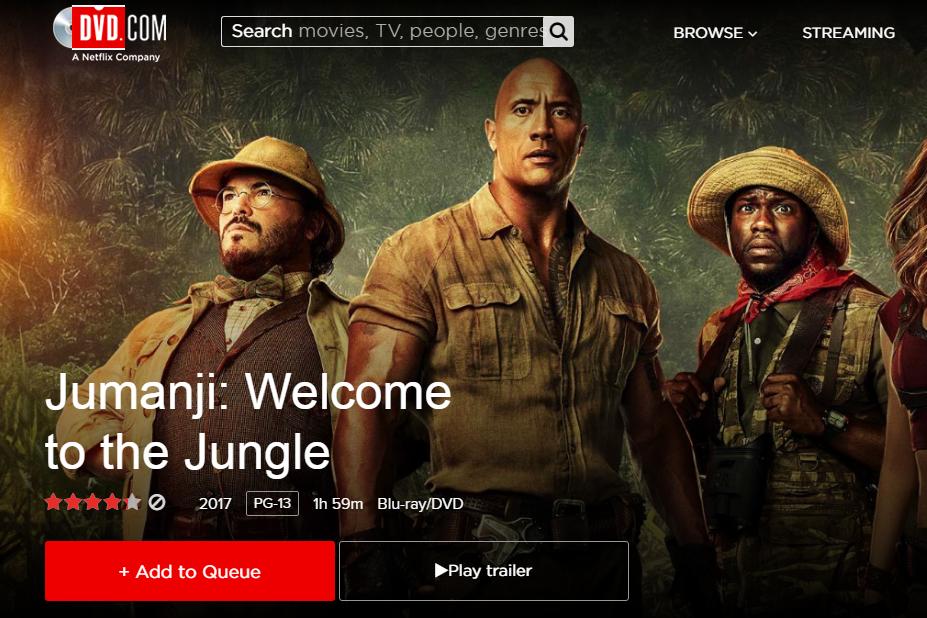 DVD Netflix Add to Queue button