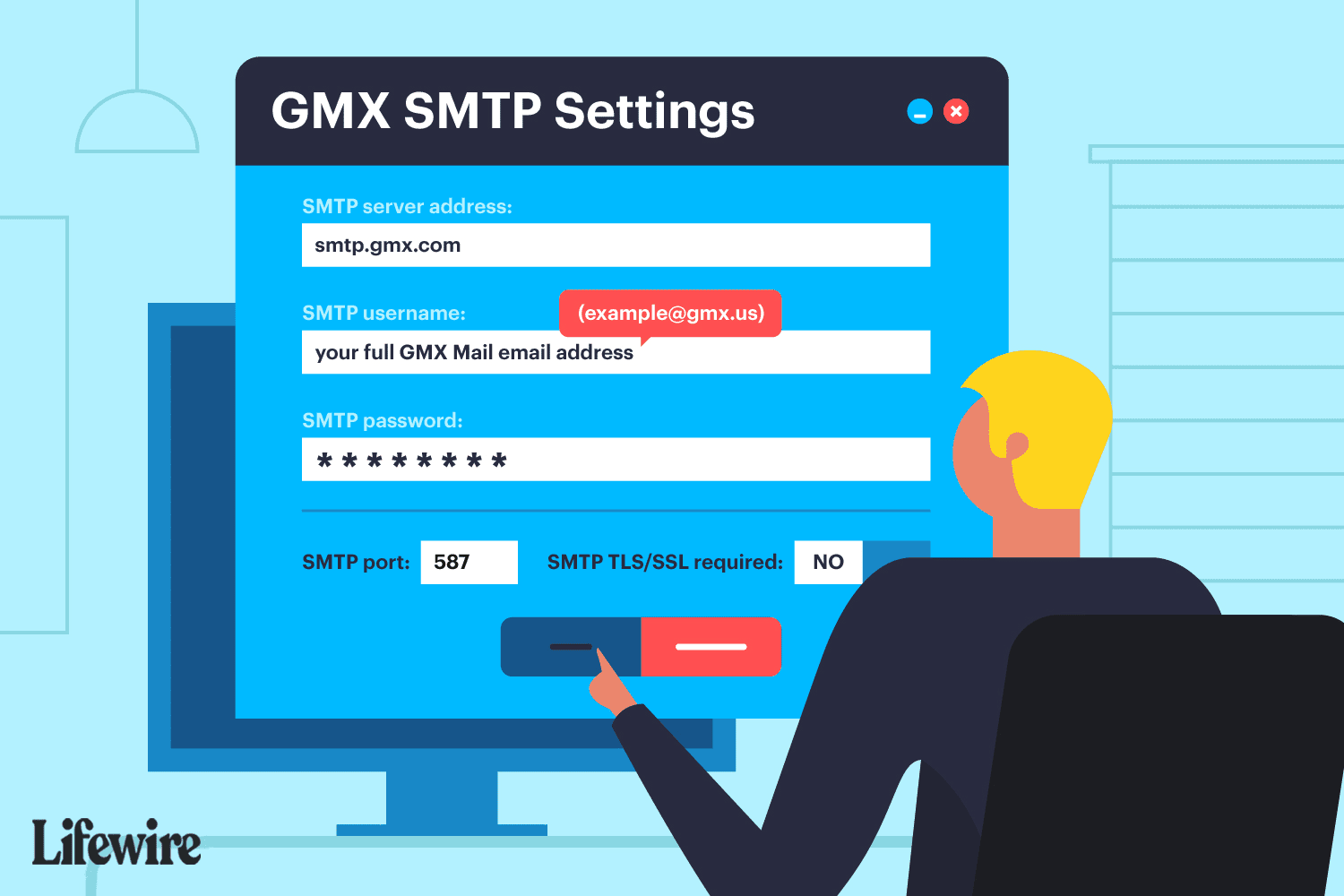 An illustration of the GMX SMTP settings.