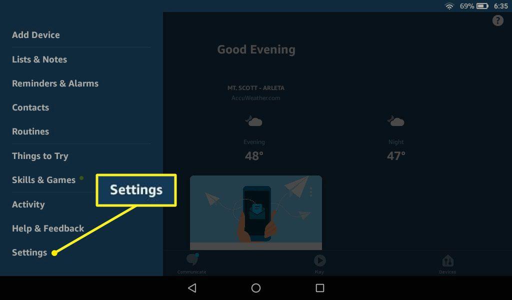 Alexa app with Settings highlighted
