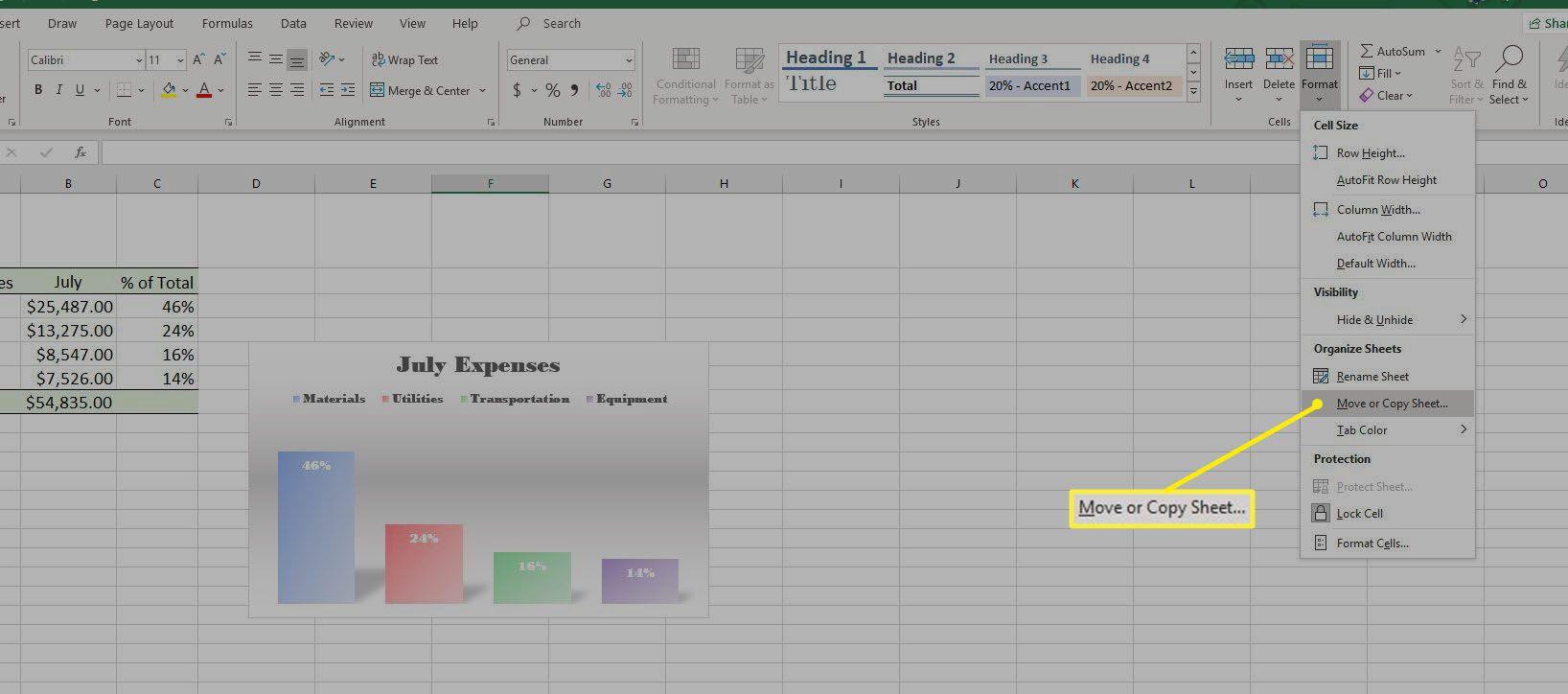 Screenshot of Move or Copy Sheet in Format drop-down