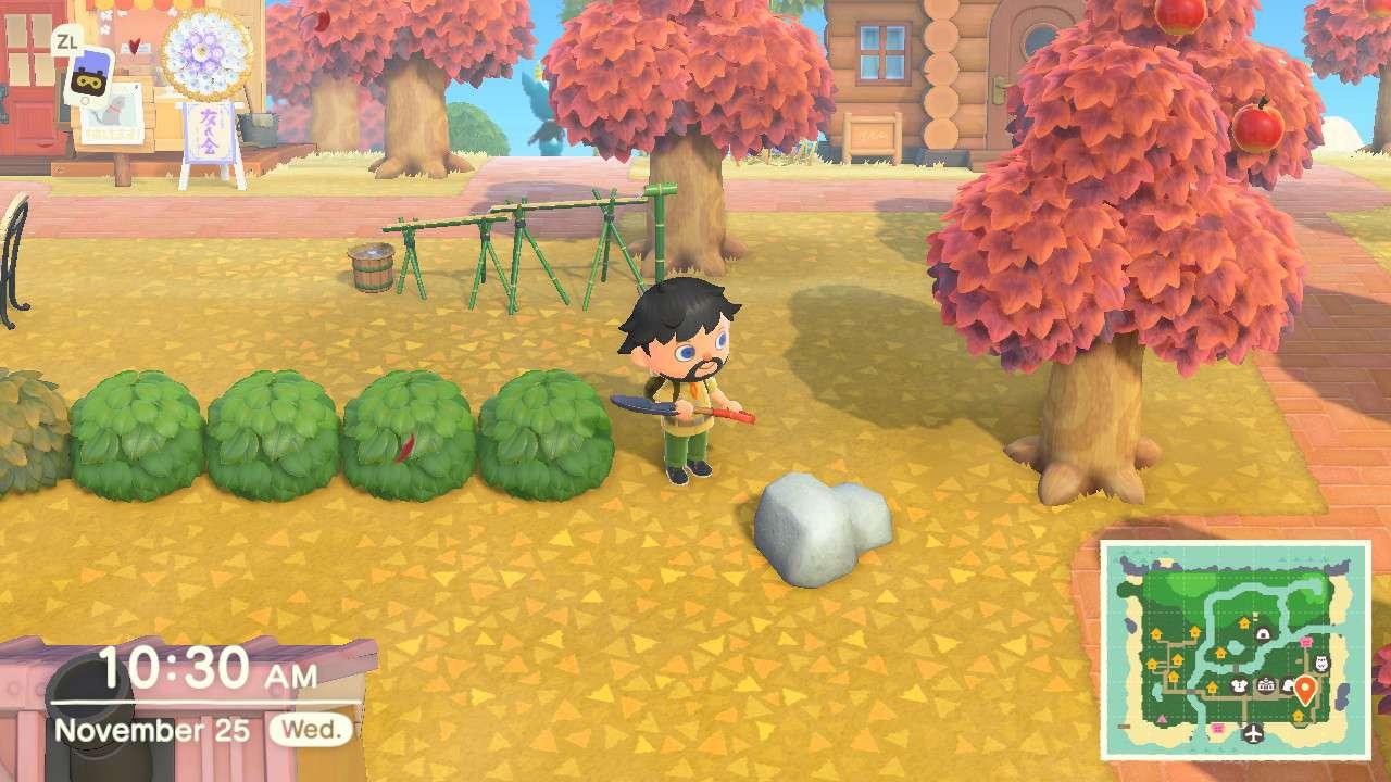 Animal Crossing character facing a rock