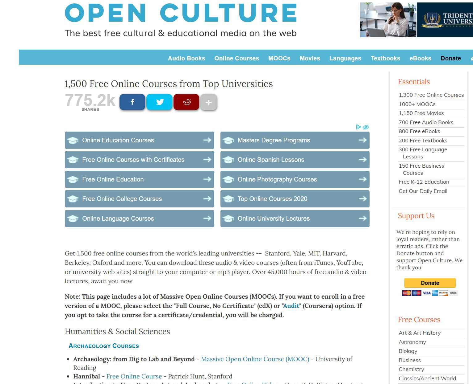 Open Culture home page