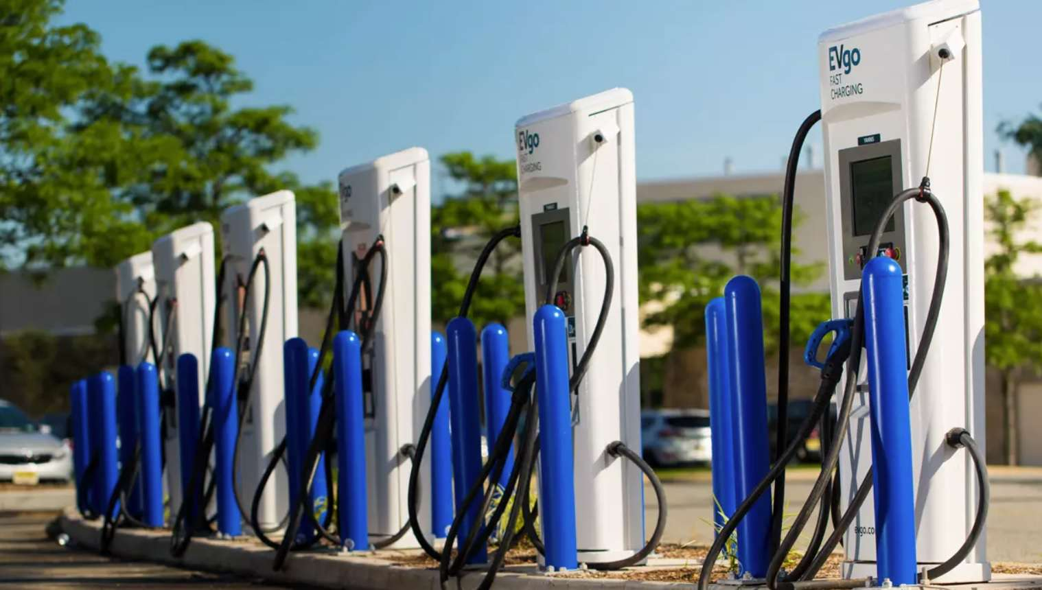 A group of six EVGo fast charging stations.