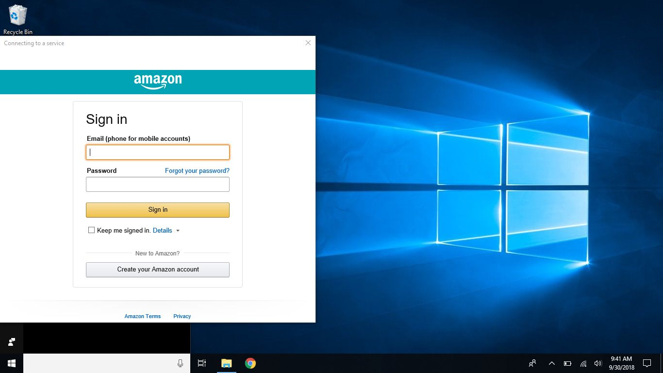 Screenshot of Amazon sign in screen within Cortana
