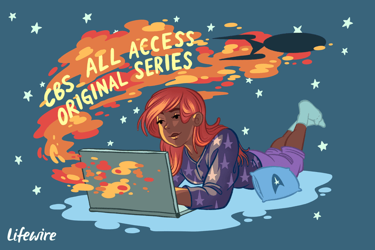 Illustration of a person watching Star Trek via CBS All Access on their laptop