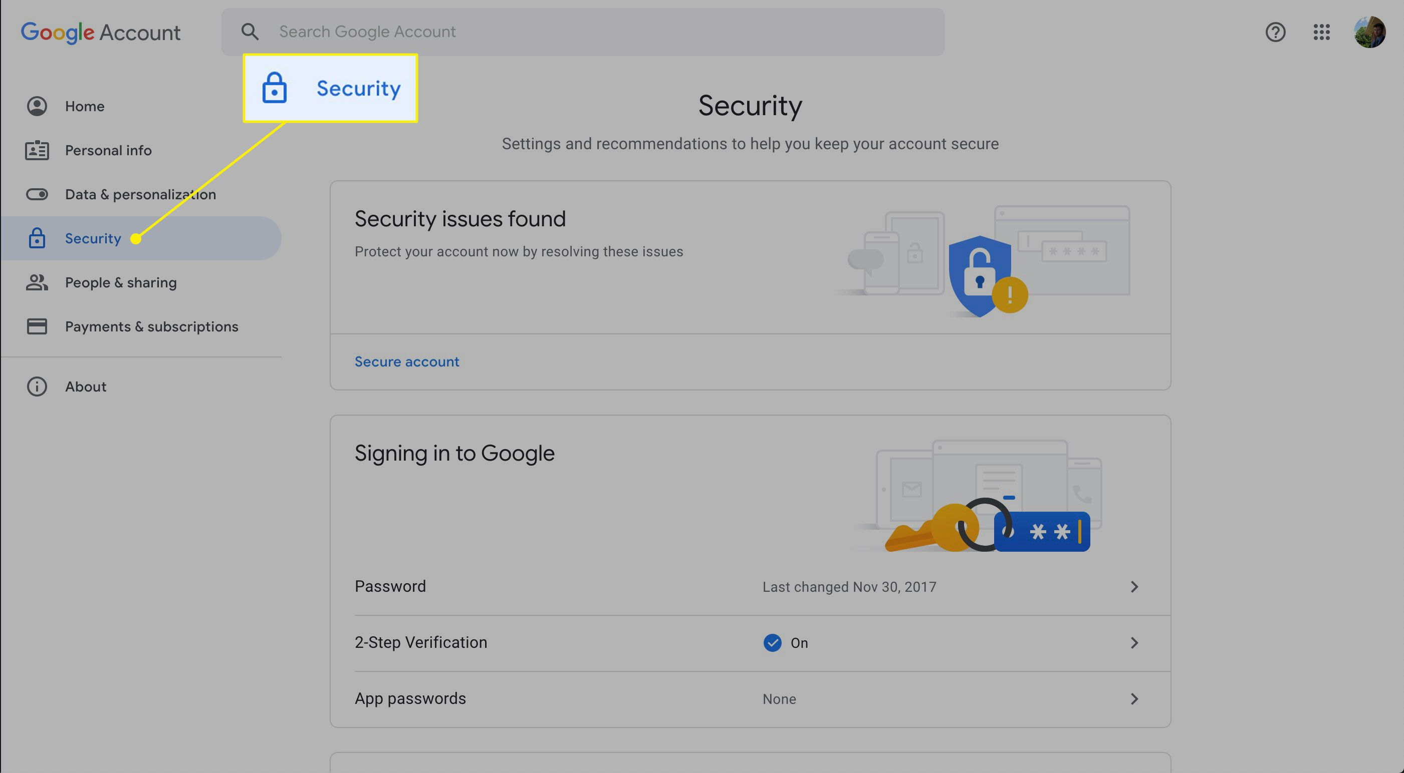 The Security section in Google Account
