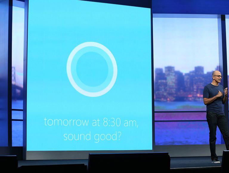 Microsoft CEO Satya Nadella introducing Cortana.