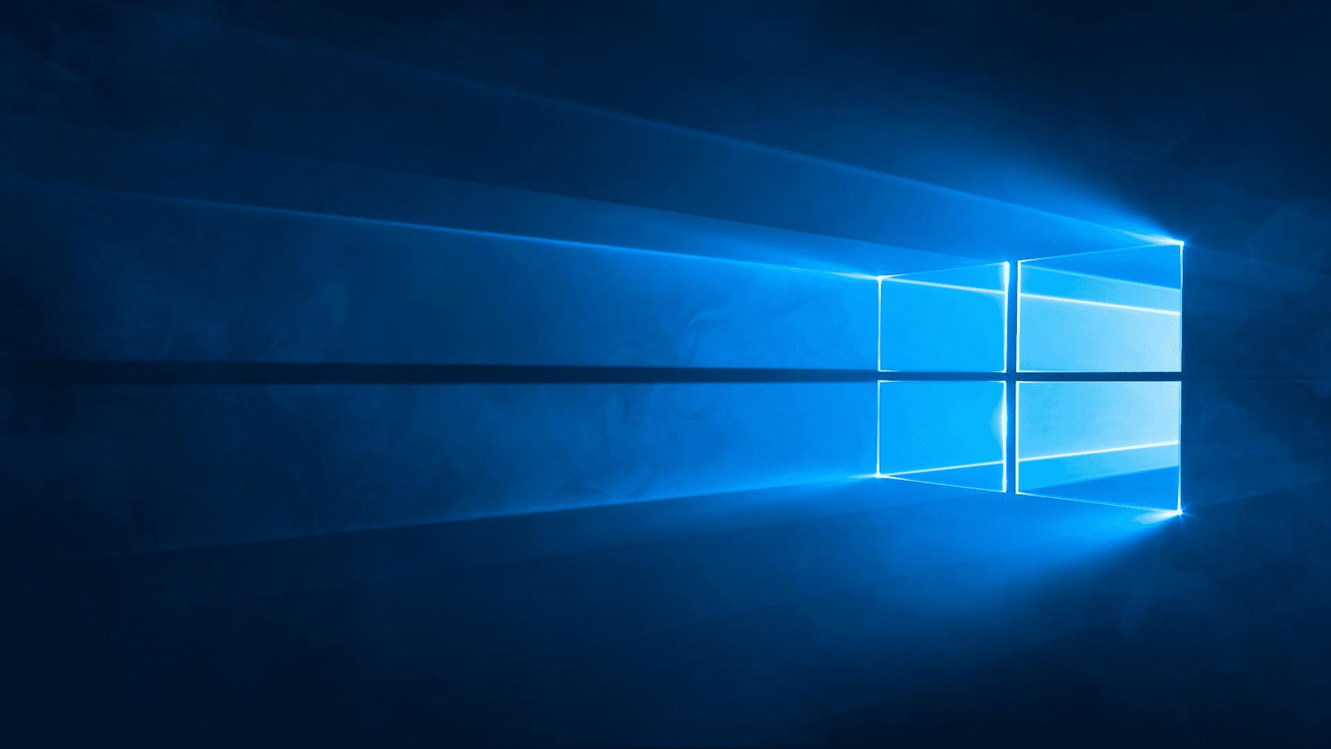 A blank desktop in Windows 10.