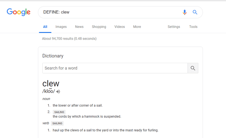 Screenshot of using Google definition